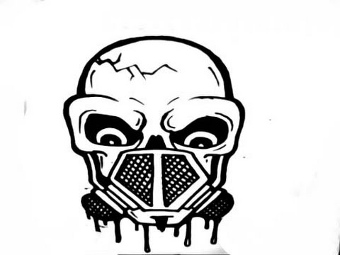 How To Draw A Skull With A Gas Mask Youtube