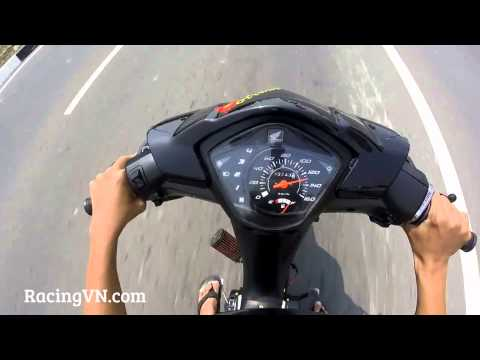 Test Speed Honda Wave S110 trái 55mm, dên đôn...
