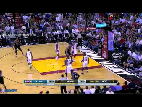 LeBron James Tough Fadeaway Jumper | Pistons vs Heat | February 3, 2014 | NBA 2013-2014 Season