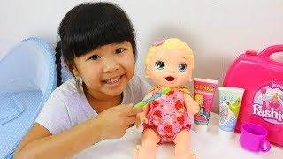 Funny Good baby and Baby born doll Brush your teeth and Baby Doll Morning Routing indoor playground