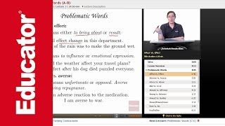 """""""Problematic Words""""   Advanced English Grammar with Educator.com"""