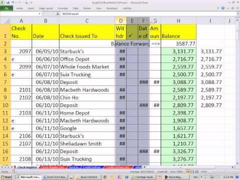 Excel 2010 Business Math 40: Create Checkbook Register In ...