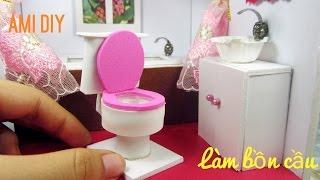 DIY Miniature Dollhouse Bathroom #3   Cách làm bồn cầu cho búp bê   Ami DIY