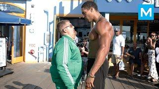 Fat Man VS Bodybuilders (Epic Prank)   Muscle Madness