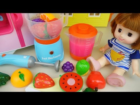 Baby doll and Fruit juice maker and refrigerator toys play