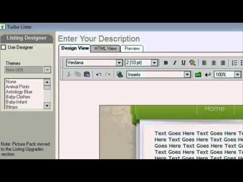 Create Great Looking eBay listings using Turbo Lister!