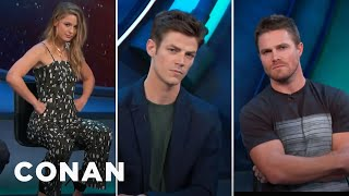 """The CW Heroes Give Their Best """"CW Smolder"""" Look  - CONAN on TBS"""