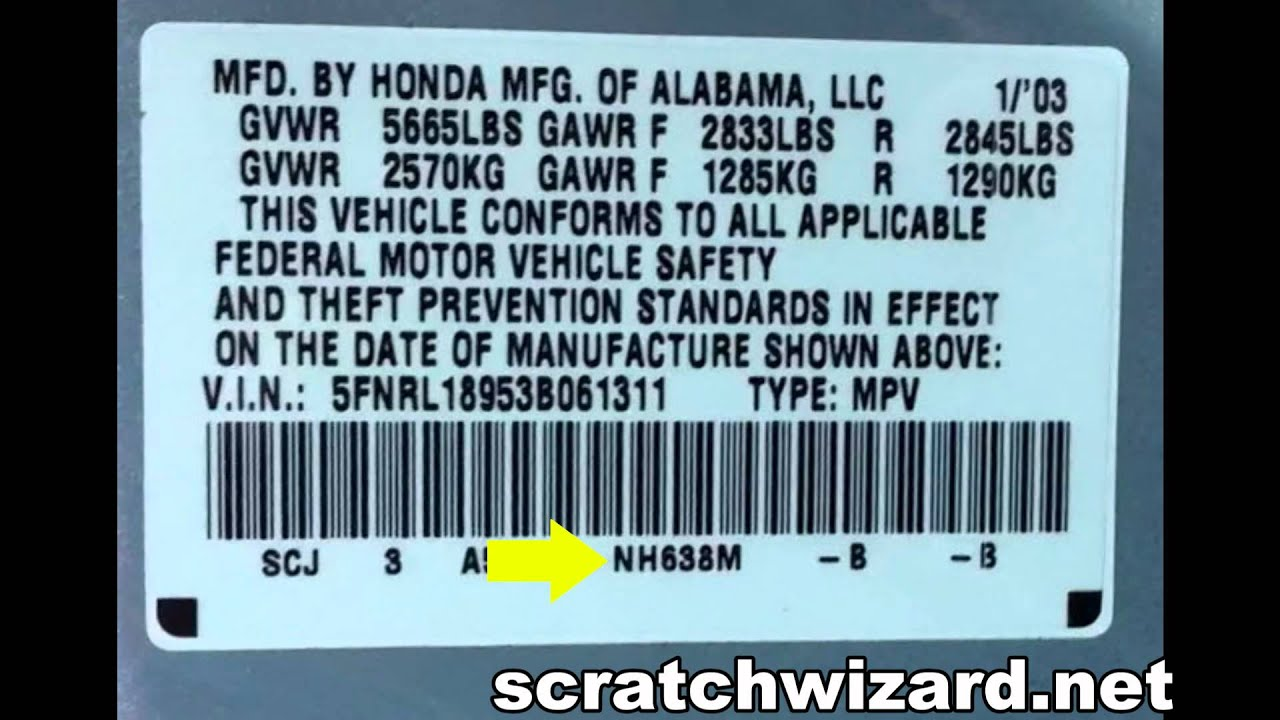how to find your hondas paint code youtube