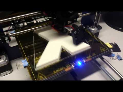 Recalibrated Prusa i3, printing the X of Xylos