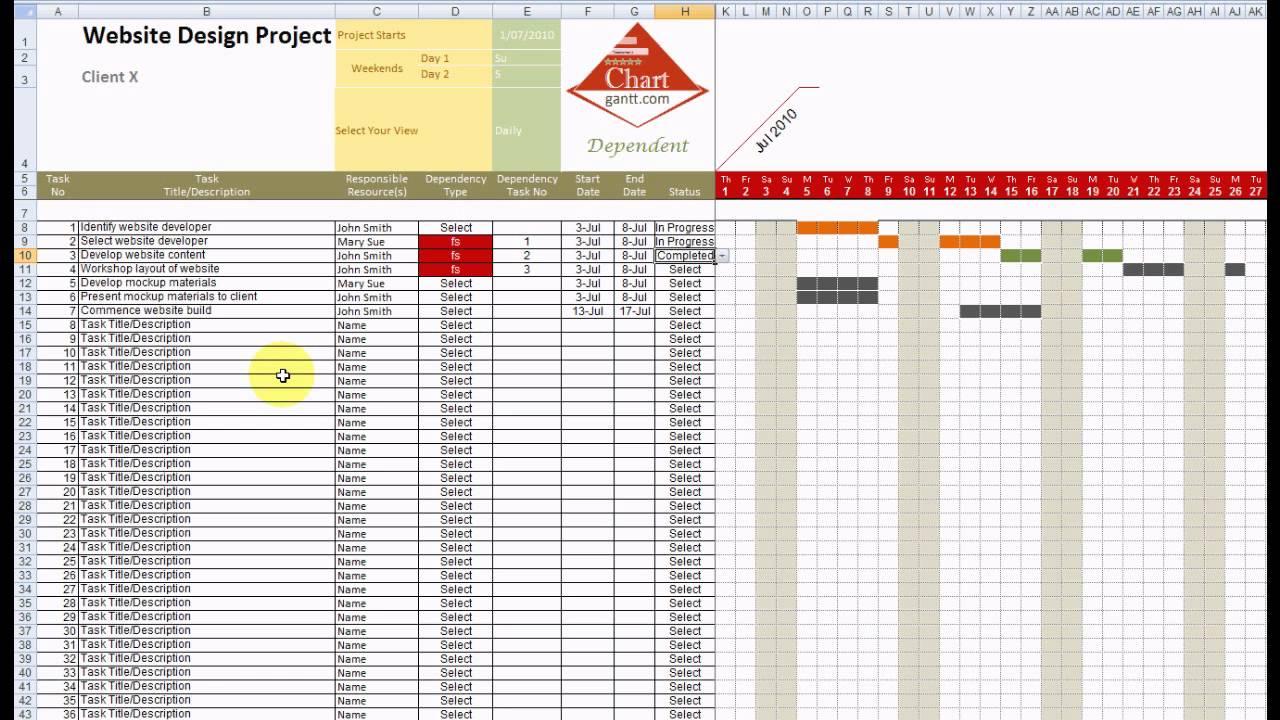 Chart Gantt Excel Template Demonstration - YouTube