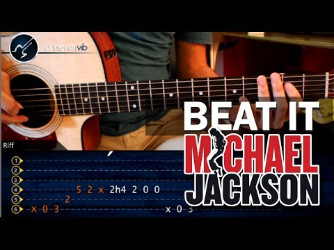 Como tocar Beat It - MICHAEL JACKSON - en guitarra Acustica PRINCIPIANTES (HD) Tutorial Riff