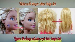 Barbie Makeover/ Tẩy vết mực trên mặt và làm thẳng tóc cho búp bê / Ami DIY