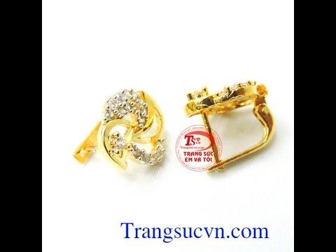 Hoa tai vàng kiểu đẹp ,Khuyên tai nữa vàng đá quý,Mã số: TSVN011778
