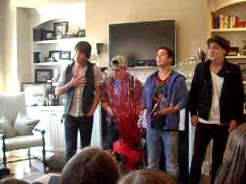 "Big Time Rush singing ""Boyfriend"", Big Time Rush performing in our neighbor's living room... This was part of a radio promotion."