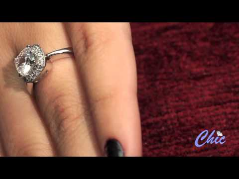 Elegant cushion cut  cubic zirconia engagement  ring in 14k white   gold- Item #8000