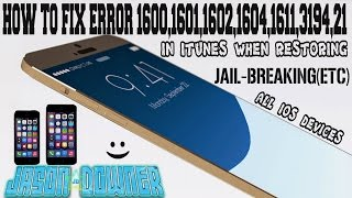 HOW TO FIX ERROR (1600,1601,1602,1604,1611,3194,21 IN