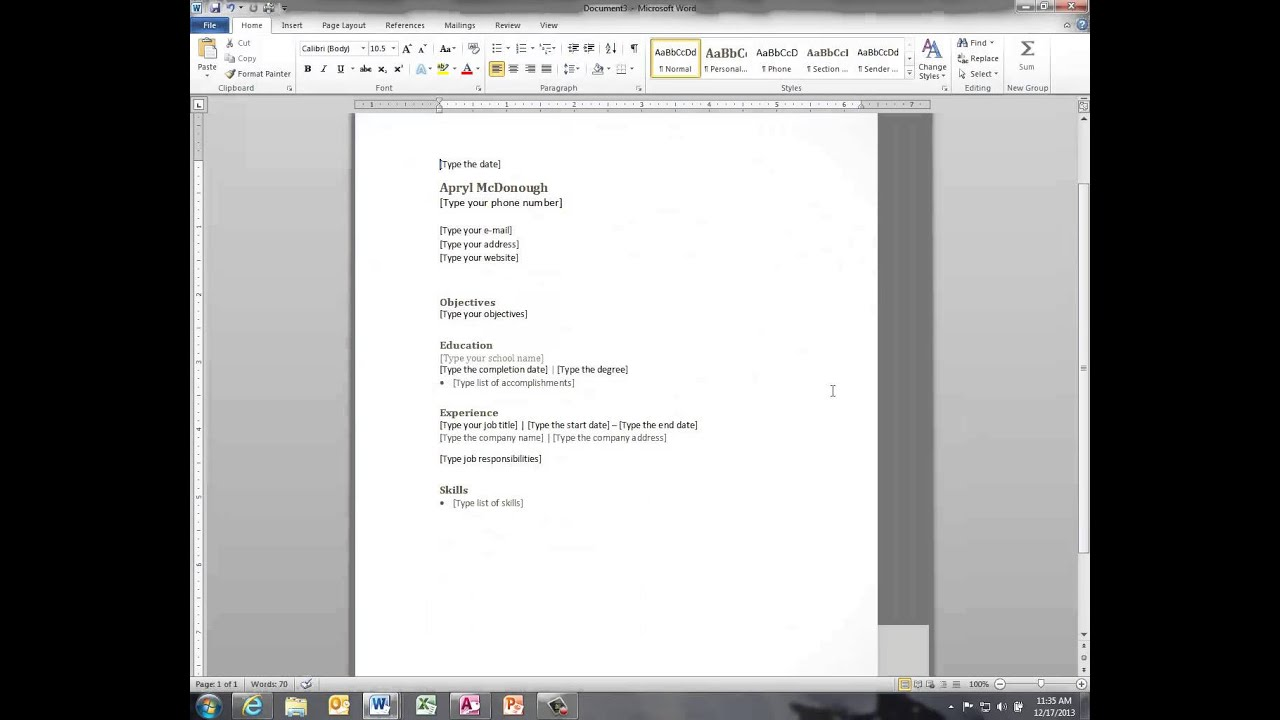 Easy Resume And Cover Letter Word 2010