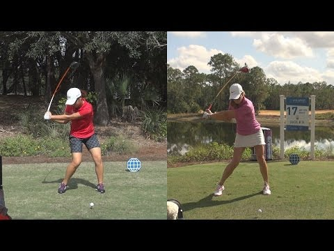 MICHELLE WIE vs LYDIA KO - SYNCED DRIVER GOLF SWING REG & SLOW MOTION FACE-ON 1080p HD