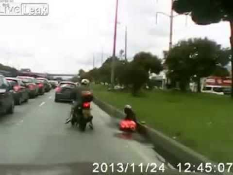 Riding on scooter with wife ACCIDENT