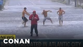 Hurricane Sandy's Reporters Brave the Dire Outdoors: Conan on TBS