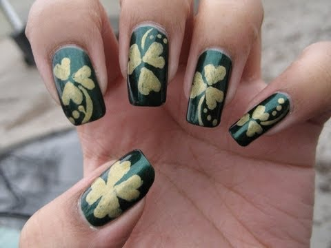 Shamrock/Clover Nail Art Tutorial For St. Patrick's Day - YouTube, See more pics here: http://mysimplelittlepleasures.blogspot.com/2010/03/notd-cloversshamrocks-tutorial.html Nail polish used: Nina Ultra Pro Emerald City Chi...