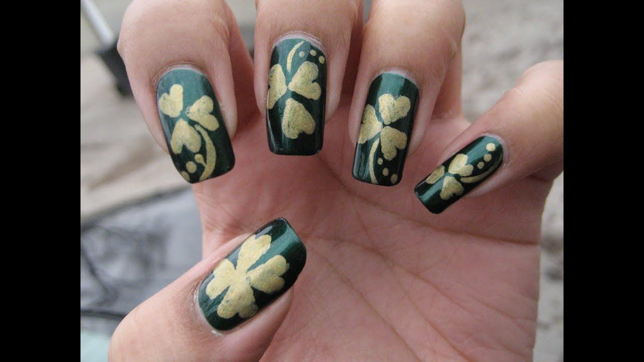 Shamrock Clover Nail Art Tutorial For St Patrick S Day