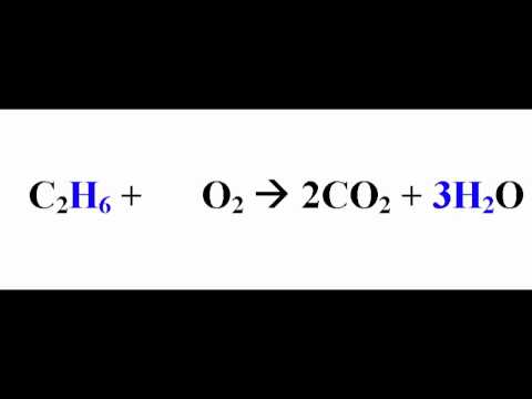 Write a balanced equation for the complete combustion of ethane