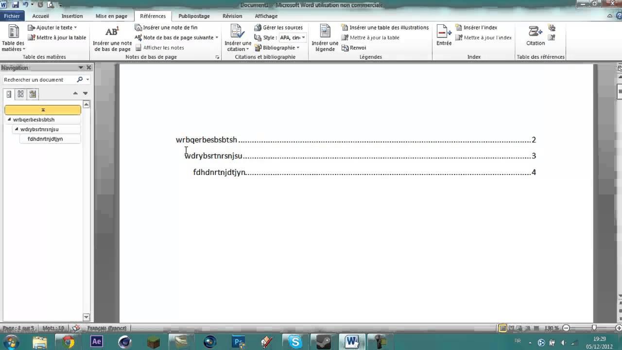 tuto l comment faire un sommaire automatique sur word 2010