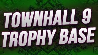 Clash Of Clans :: NEW TH9 Trophy Base!!
