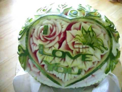 Watermelon carving Heart & buterfly. by Willy Tuz.