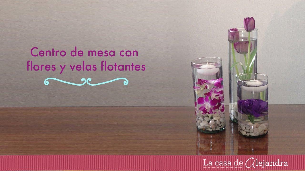 Centro de mesa con flores y velas flotantes diy - Como hacer velas flotantes ...