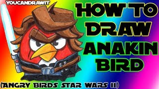 How To Draw Anakin Skywalker Bird From Angry Birds Star