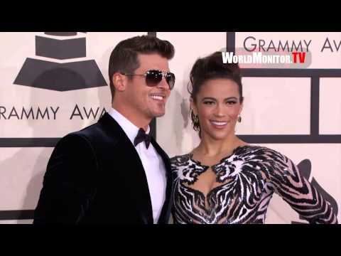 Robin Thicke and wife Paula Patton All smiles at 56th Annual GRAMMY Awards