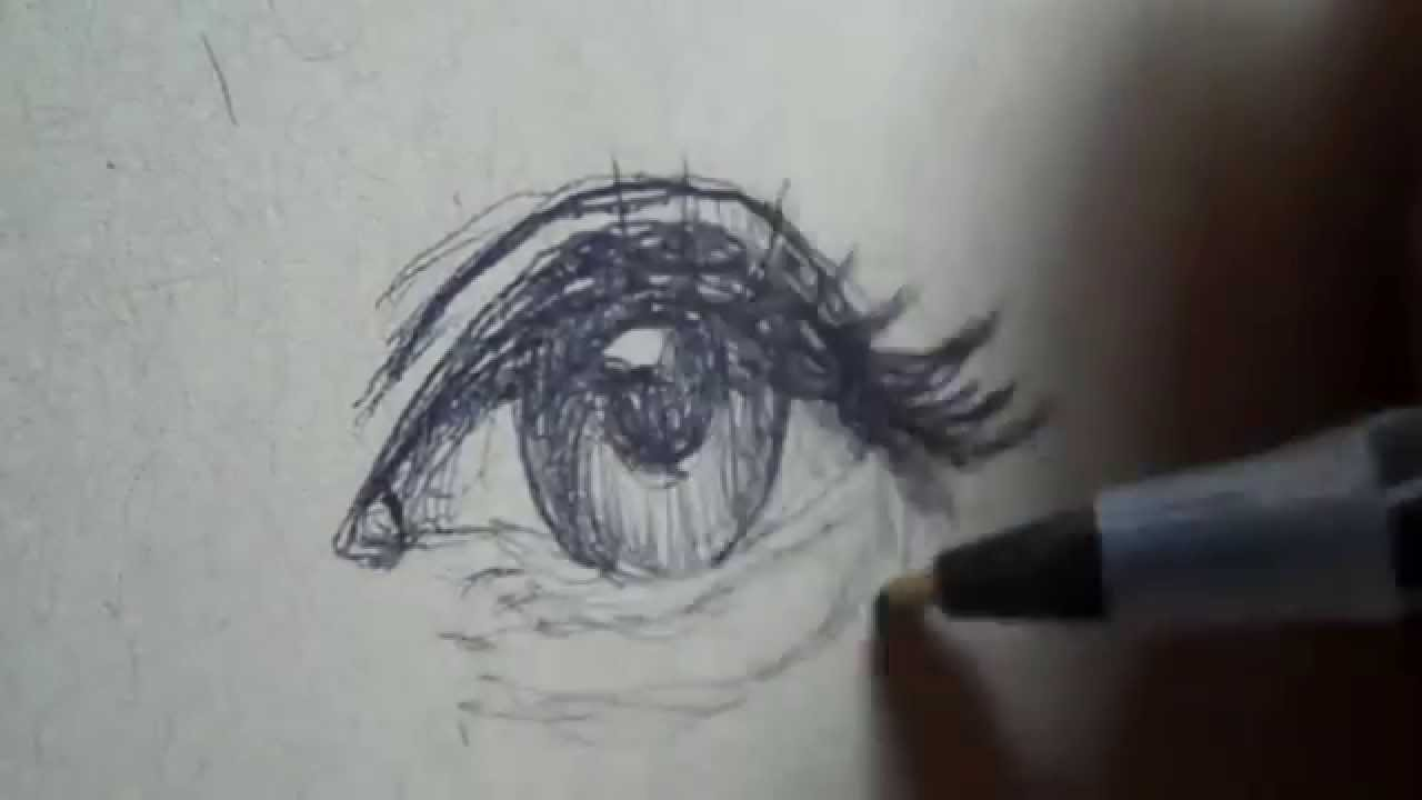 Drawing a quick simple eye with ballpoint pen youtube for Cool easy pen drawings