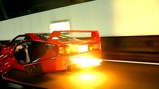 Ferrari F40: Burnout and loud Backfire Sound!