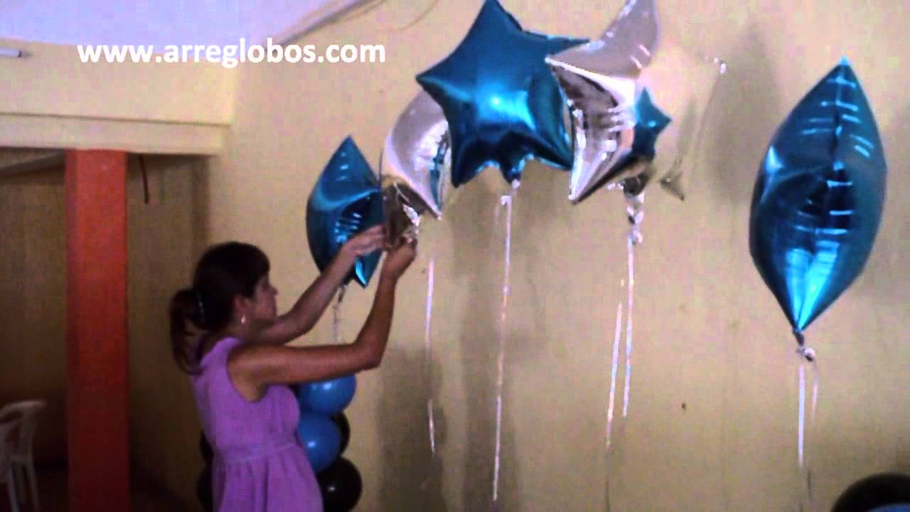 Decoracion con globos para xv a os youtube for Adornos colgar pared
