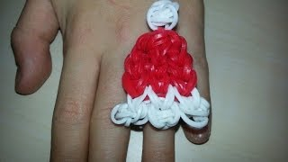 RAINBOW LOOM SANTA HAT RING OR CHARM *EASY To INTERMEDIATE