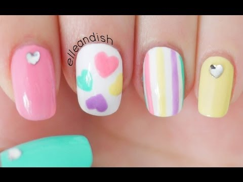 Valentine's Day Pastel Hearts Nails