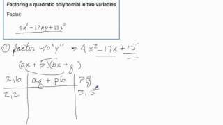 Factoring A Quadratic Polynomial In Two Variables.mov