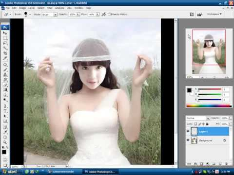 hướng dẫn ghép ảnh cô dâu trên máy tính latop