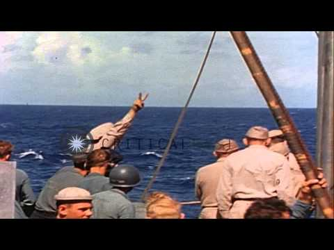 Curtiss SOC Seagull aircraft lands on surface of water in the South West Pacific ...HD Stock Footage