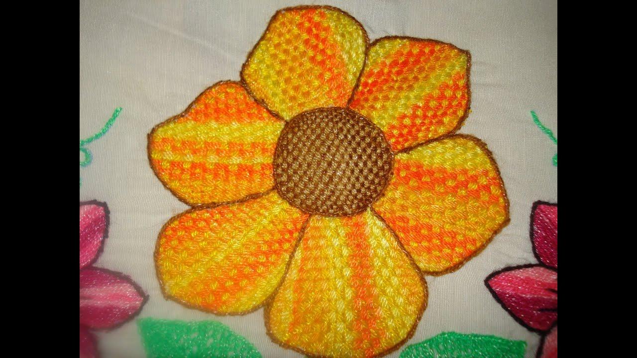 Bordado fantasia petatillo youtube - Flores de telas hechas a mano ...