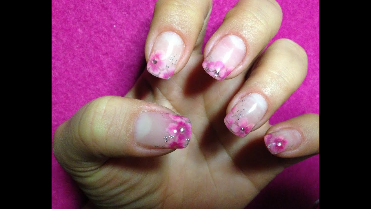 Nail Art in gel - fiori - YouTube