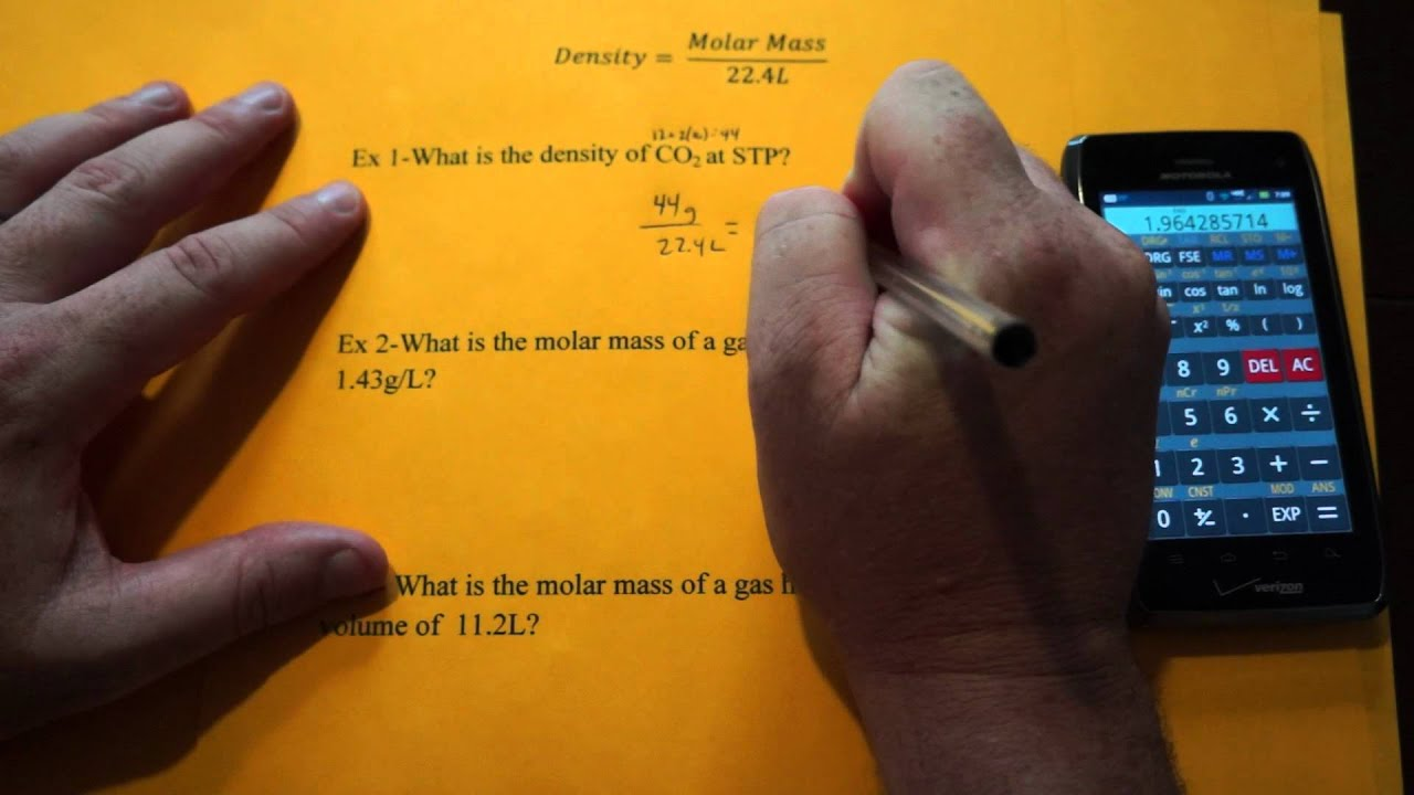 how to find molar mass from density at stp