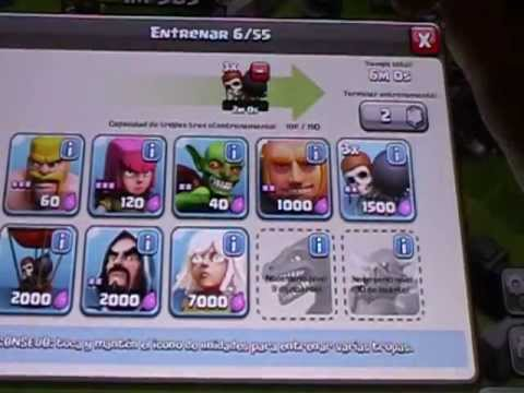Ataque clash of clans barbaro , gigantes y rompemuros - YouTube