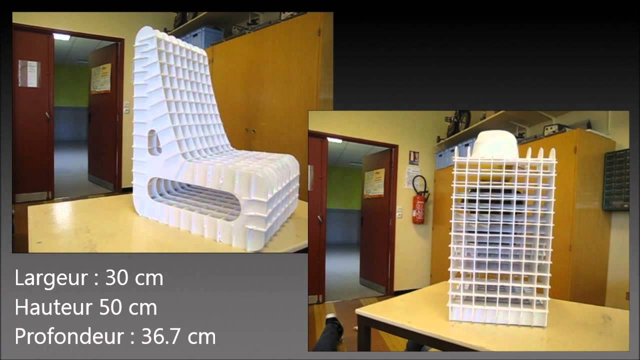 conception d 39 une chaise en carton youtube. Black Bedroom Furniture Sets. Home Design Ideas