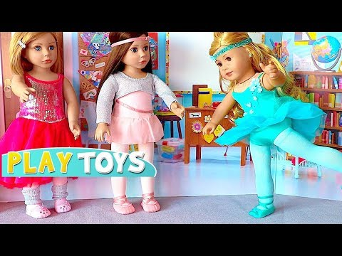 Baby Doll School Lunch food toys & AG Doll Ballet class w/ doll dress up Ballerina Gymnastics outfit