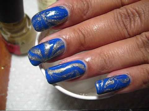 Blue & Gold Water Marble Nail Art Tutorial - YouTube