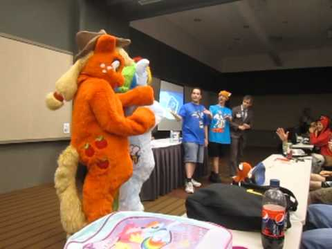 Rainbow Dash and Applejack at Anthrocon 2011