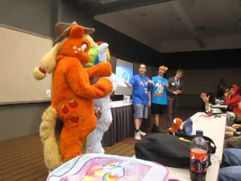 Rainbow Dash and Applejack at Anthrocon 2011